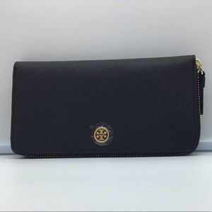 NEW TORY BURCH style 45254 black&blue zip wallet